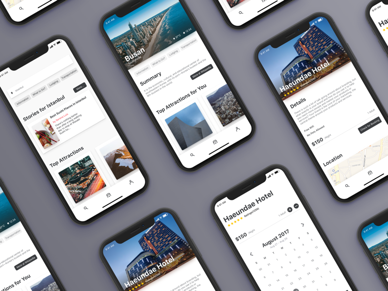 Trips-Travel Guide protopie app mobile ui clean iphone x hotels istanbul korea travel guide guide travel