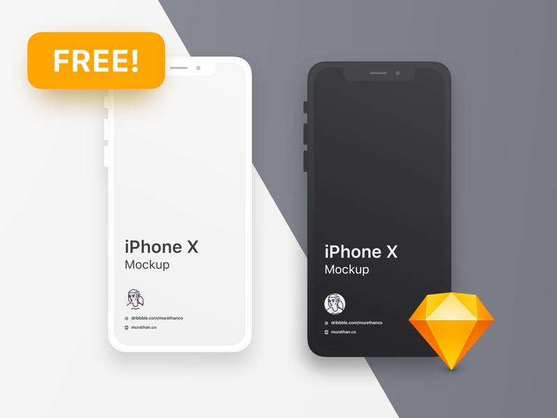 (Free) iPhone X - Clean Mockup for Sketch iphone white black screen free freebies sketch mockup iphone x