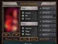 Gothic fantasy RPG game UI