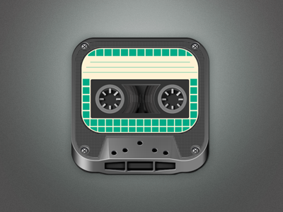 Retro Tape icon retro tape icon ios gray green