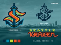 SEA Kraken - NHL 32 - logo(s) Concepts No. 2A branding identity logo screamin yeti alaska seattlekraken nhlseattle hockey seattle nhl32