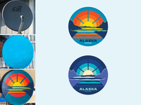 Turnagain Sunset-Moonrise Sat. Dish > Painted Artwork > Stickers stickers mountains moonrise sunset turnagain arm anchorage alaska