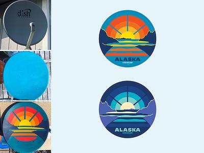 Turnagain Sunset-Moonrise Sat. Dish > Painted Artwork > Stickers stickers mountains moonrise sunset turnagain arm anchorage alaska