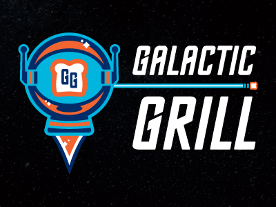 Galactic Grill - logo 2013 alaska comet planet space galactic grill anchorage grilled cheese food truck logo screamin yeti