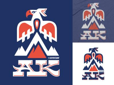 AK Thunderbird - revised logo / 50 States version screamin yeti logo sticker apparel 50 states eagle thunderbird totem second chance alaska
