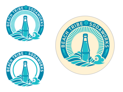 Beach Tribe Sodaworks - logo / bottle cap 1 wave bottle jipping ginger beer beach tribe sodaworks non-alcoholic natural bottle cap label identity logo screamin yeti alaska
