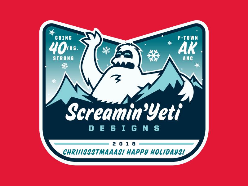 SYD - '18 Chriiissstmaaas! Happy Holidays! logo / sticker anchorage alaska snowflakes screamin yeti tour sticker christmas happy holidaze
