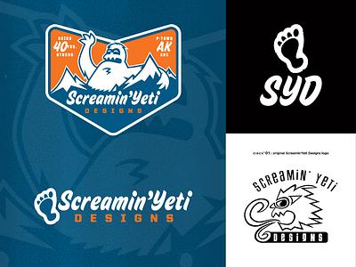 SYD - logo(s) & evolution redux logo evolution branding identity logo screamin yeti alaska anchorage
