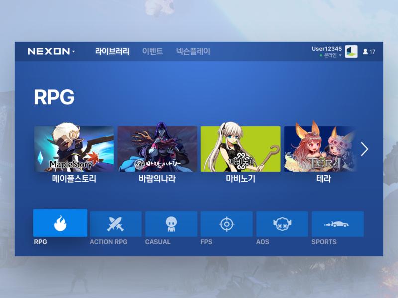 Nexon Game Launcher - Main Library action sports rpg nexon dashboad launcher game blue ux ui flat