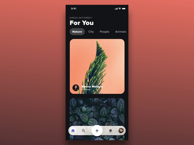 Darkmode card interactions using @principleapp photography unsplash swiping parallax camera fab figma principle app profile photo sharing dark mode dark ui darkmode swipe cards iphonex ios interaction animation ui