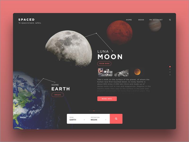 SPACEDchallenge Web App 🚀 web unsplash travel spacedchallenge scifi iphonex ios gradients flights design booking