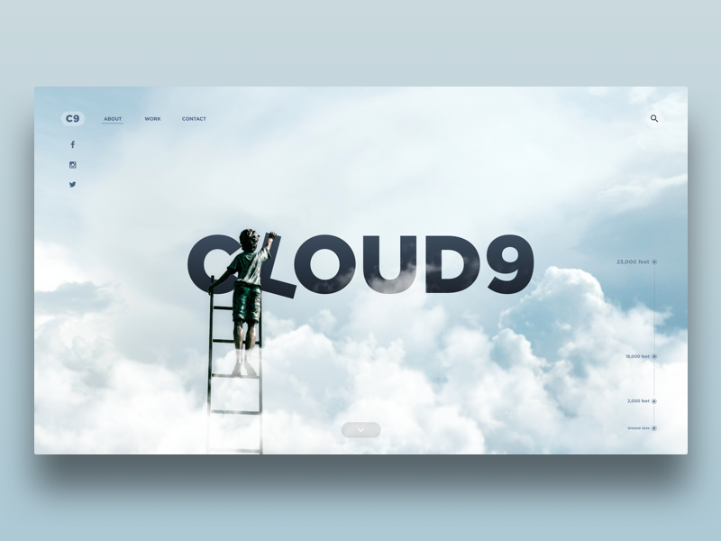 Cloud9 homepage concept scrolling unsplash depth typography landing screen homepage clouds web