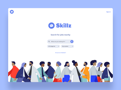A simple job board landing page using humaaans 😎 icon web typography vector userexperiencedesign ui design voice search voice illustrations illustration website humaaans jobs homescreen homepage home design ux interaction ui