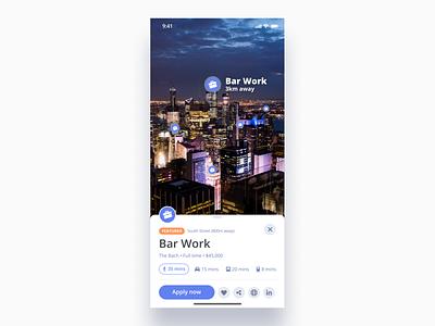 Location-based Job Board Concept - Part 1 - AR Mode cards recruiter location applemaps mapbox googlemaps maps job virtual reality vr augmented reality ar work unsplash iphonex design ux ios interaction ui