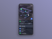 2.5D Navigation Dark Mode ui cards mapbox studio interaction ui design navigation theming iphone ios 3d apple maps google maps mapbox mapping dark app userinterface dark ui darkmode dark mode