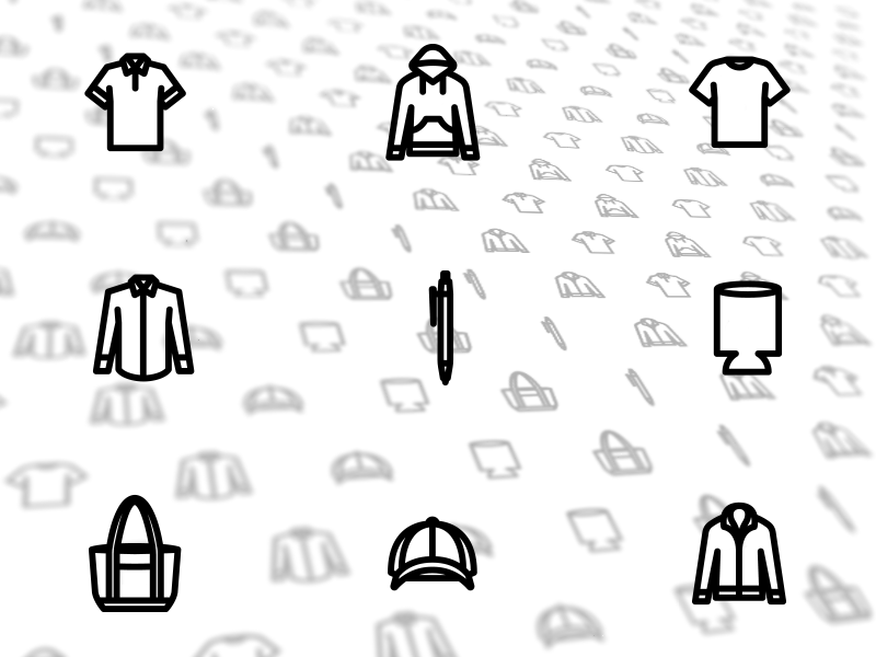 Product icons jacket coozie hat bag pen hoodie shirt pattern apparel icons
