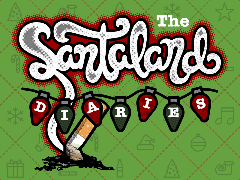 The Santaland Diaries smoke lights cigarette merry crhistmas icons custom type lettering typography christmas santaland