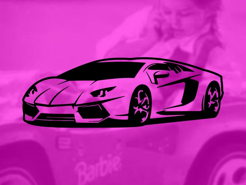 """In My Barbie Lambo..."" pink fast sportscar car barbie lambo"