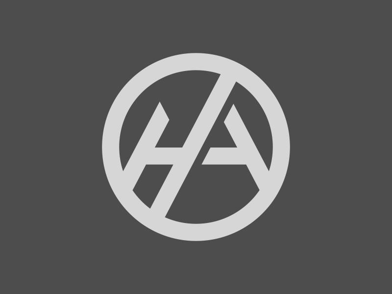 H.A. monogram circle logomark monogram a h