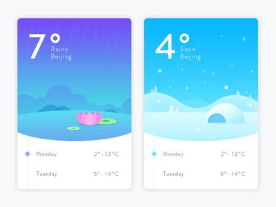 Weather App Concept timeline snow rainy seasons ios interface ui app illustration