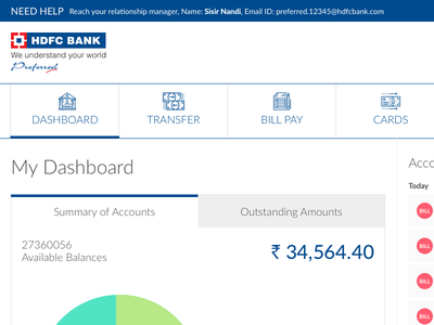 Redesign HDFC Netbanking Scree. dashboard banking redesign