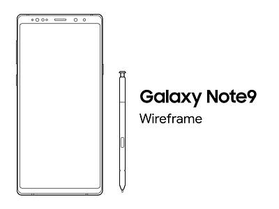 Samsung Galaxy Note9 Free Wireframe mockups phone mockup free wireframe free galaxynote9 samsung wireframe