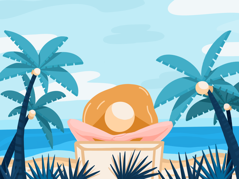 Beach time beach relaxing palm tree drawing illustration