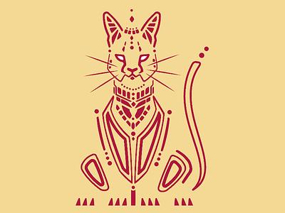 Serval African Cat tribetec aztec pattern vector serval cat