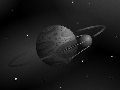 Hello World! sputnik cosmos stars illustration noise planet space