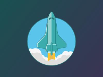 Shuttle Blast Off flat rocket launch space space shuttle ui illustration rocket launch icons iconography