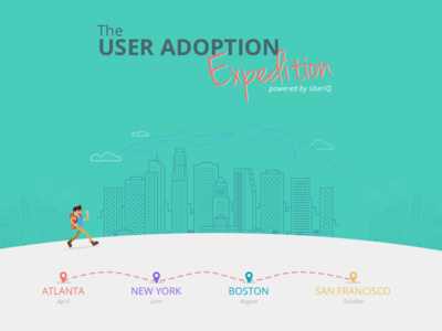 The User Adoption Expedition roadshow conference road show expedition hiking hiker illustration landing page