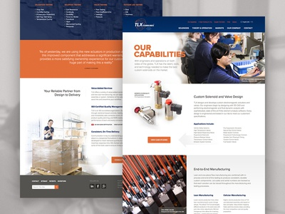 TLX Technologies craftcms capabilities layout design webpage manufacturing