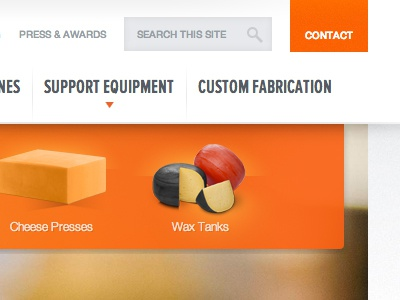 Johnson Industries Site Navigation craftcms menu manufacturing cheese navigation header dropdown