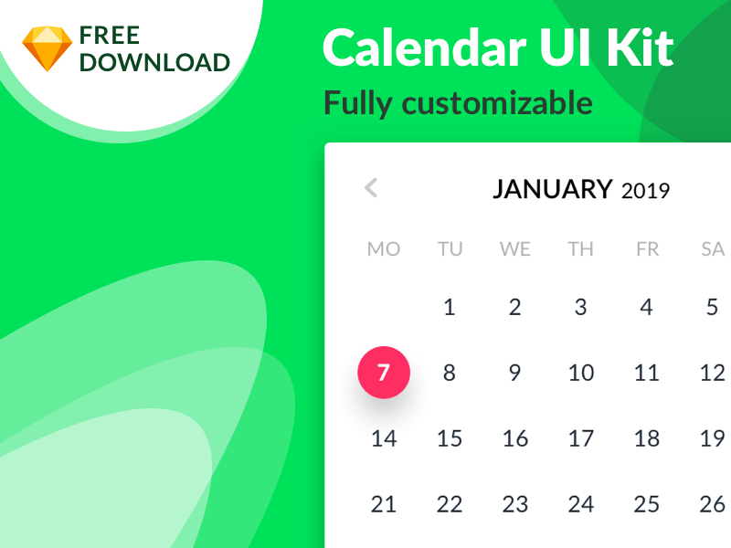 FREEBIE Calendar UI Kit symbols nested sketch free freebie kit ui calendar