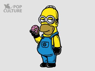 FM Pop Culture 027 - Simpion t-shirt illustration funny cute lol pop culture simpson minion animation donut despicable me movie