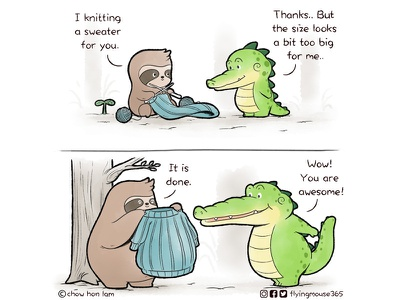 Buddy Gator - Knitting Is Caring comics webcomics heartwarming chow hon lam