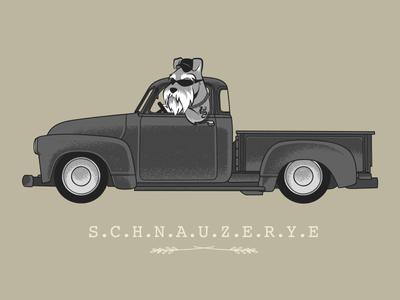 SCHNAUZERYE chow hon lam art vintage animals cute car puppies dog puppy pick up truck trucker schnauzer