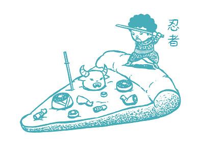 Ninja Pizza monster ninja pizza chow hon lam art funny food japanese lol cute