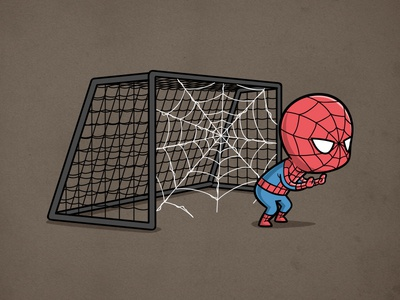 Sporty Spider Man - Soccer chow hon lam art soccer sport funny cute movie parody pop culture spidey spider man comic