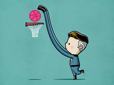 Sporty Mr Fantastic - Basketball nba basketball sport fantastic four sporty buddy parody comic dribbble debuts