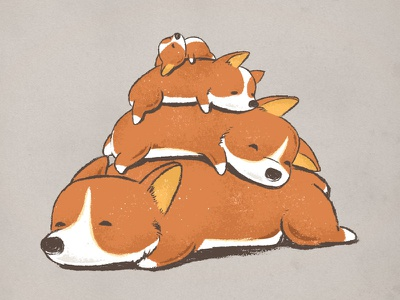 Comfy Bed - CORGI corgi puppy dog flying mouse 365 chow hon lam art adorable cute animals comfy bed