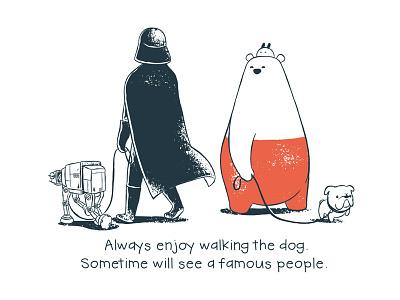 Tu and Ted - Walk The Dog darth vader star wars tu and ted bear polar bear bunny rabbit chow hon lam art illustration storytelling story