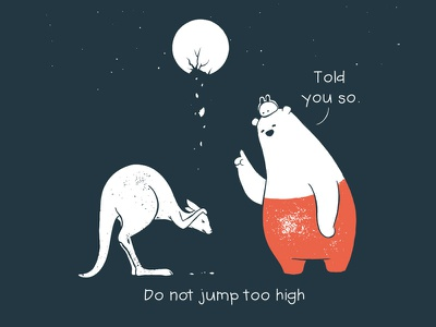Tu and Ted - Not Too High kangroo moon story storytelling illustration chow hon lam art rabbit bunny polar bear bear tu and ted