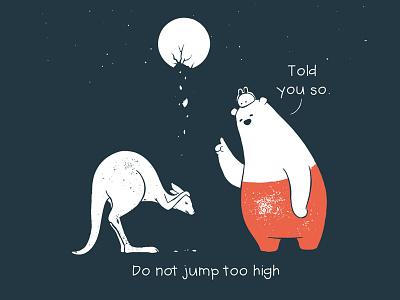 Tu and Ted - Not Too High kangroo moon story storytelling illustration chow hon lam art rabbit bunny polar bear bear tu and ted