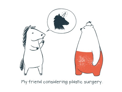 Tu and Ted - Plastic Surgery unicorn comic movie tu and ted bear polar bear bunny chow hon lam art illustration storytelling