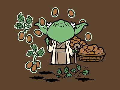 Part Time Job -  Potato Farm illustration pop culture chow hon lam art part time job cartoon force be with you yoda star wars