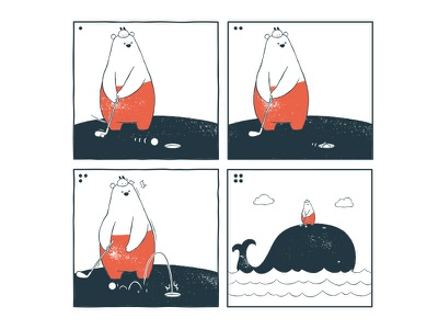 Tu and Ted - Golf tu and ted webcomic webtoon line webtoon bear polar bear bunny chow hon lam art illustration whale golf