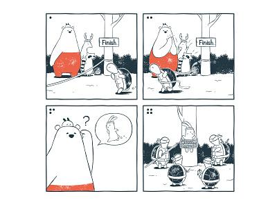 Tu and Ted - Another Race Story parody ninja turtle tmnt illustration chow hon lam art bunny polar bear bear line webtoon webtoon webcomic tu and ted
