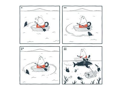 Tu and Ted - Shark Near Us tu and ted webcomic webtoon line webtoon polar bear bunny chow hon lam art illustration shark wprld ocean day 2018 ocean world oceans day