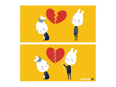 TeeyouTu - Broken Heart couple love art cute rabbit illustration chow hon lam bunny comic teeyoutu teeyoutu